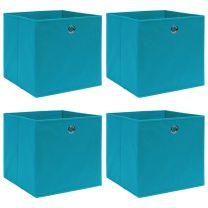 Opbergboxen 4 st 32x32x32 cm stof babyblauw