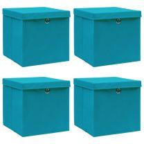Opbergboxen met deksels 4 st 32x32x32 cm stof babyblauw
