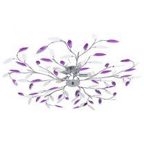 Plafondlamp met acryl kristallen bladarmen voor 5xE14 paars