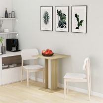 Bistrotafel 60x60x75 cm spaanplaat wit en sonoma eikenkleurig