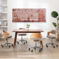 Wandprintset boom 200x80 cm canvas geel