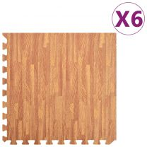 6x Puzzelsportmatten 2,16  EVA-schuim houtnerfprint
