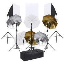 Fotostudioset met verlichtingsset en softboxen
