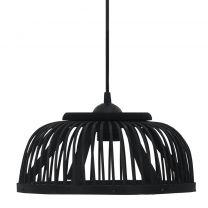 Hanglamp halfrond 40 W E27 30x12 cm wilgen zwart