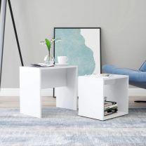 Salontafelset 48x30x45 cm spaanplaat wit