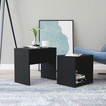 Salontafelset 48x30x45 cm spaanplaat zwart