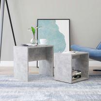 Salontafelset 48x30x45 cm spaanplaat betongrijs