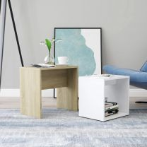 Salontafelset 48x30x45 cm spaanplaat wit en sonoma eikenkleurig