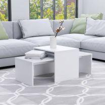 Salontafelset 100x48x40 cm spaanplaat wit