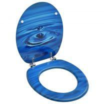 Toiletbril met deksel waterdruppel MDF blauw