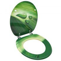 Toiletbril met deksel waterdruppel MDF groen