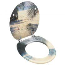 Toiletbril met deksel strand MDF