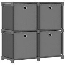 Kast met 4 vakken met boxen 69x30x72,5 cm stof grijs