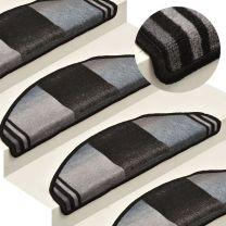 Trapmatten zelfklevend 15 st 65x21x4 cm zwart en grijs