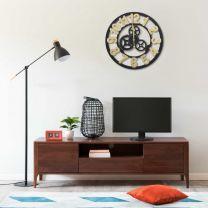 Wandklok 60 cm MDF goudkleurig en zwart