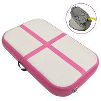 Gymnastiekmat met pomp opblaasbaar 60x100x20 cm PVC roze