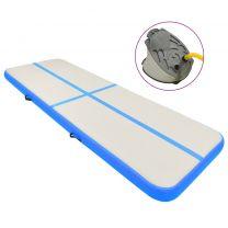 Gymnastiekmat met pomp opblaasbaar 300x100x20 cm PVC blauw