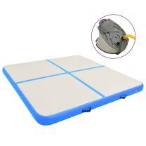 Gymnastiekmat met pomp opblaasbaar 200x200x20 cm PVC blauw