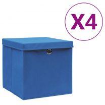 Opbergboxen met deksels 4 st 28x28x28 cm blauw
