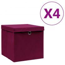 Opbergboxen met deksels 4 st 28x28x28 cm donkerrood