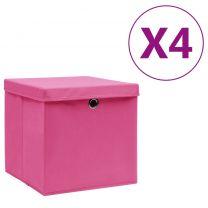 Opbergboxen met deksels 4 st 28x28x28 cm roze
