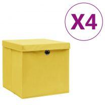 Opbergboxen met deksels 4 st 28x28x28 cm geel