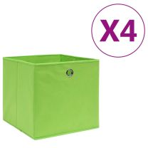 Opbergboxen 4 st 28x28x28 cm nonwoven stof groen