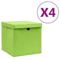 Opbergboxen met deksels 4 st 28x28x28 cm groen