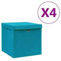 Opbergboxen met deksels 4 st 28x28x28 cm babyblauw