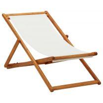 Strandstoel inklapbaar eucalyptushout en stof crmewit