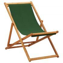 Strandstoel inklapbaar eucalyptushout en stof groen
