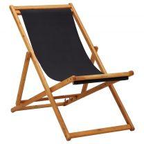 Strandstoel inklapbaar eucalyptushout en stof zwart