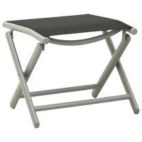 Voetensteun inklapbaar textileen en aluminium zwart zilverkleur