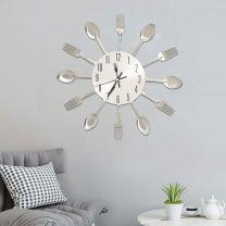 Wandklok lepel-en-vork 31 cm aluminium zilverkleurig