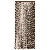 Vliegengordijn 56x185 cm chenille bruin en wit