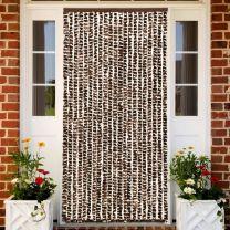 Vliegengordijn 90x220 cm chenille bruin en wit