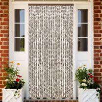 Vliegengordijn 56x185 cm chenille taupe en wit