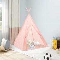 Kindertipitent met tas 115x115x160 cm polyester roze