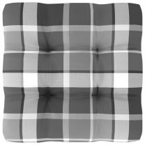 Bankkussen pallet ruitpatroon 50x50x12 cm grijs