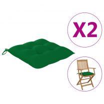 Stoelkussens 2 st 40x40x7 cm stof groen