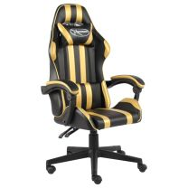 Racestoel kunstleer zwart en goudkleurig