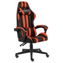 Racestoel kunstleer zwart en oranje