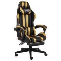 Racestoel met voetensteun kunstleer zwart en goudkleurig