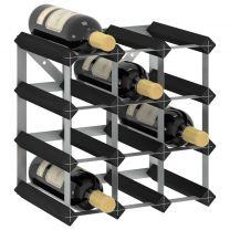 Wijnrek voor 12 flessen massief grenenhout zwart