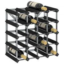 Wijnrek voor 20 flessen massief grenenhout zwart
