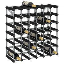 Wijnrek voor 42 flessen massief grenenhout zwart