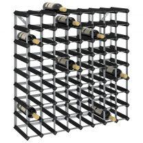 Wijnrek voor 72 flessen massief grenenhout zwart