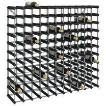 Wijnrek voor 120 flessen massief grenenhout zwart