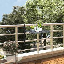 Balkontafel 60x40 cm staal zwart