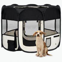 Hondenren inklapbaar met draagtas 90x90x58 cm zwart